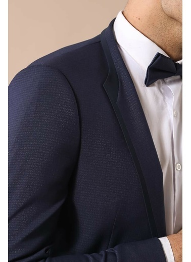 Wessi Erkek Modelli Yaka Garnili Slim Fit Damatlık Lacivert
